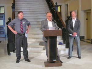 Members of the Maine Constitutional Coalition gathered on Thursday, August 14, 2014, for a press conference at the State House in Augusta. Pictured from left are Phil Merletti, Wayne Leach and Jack McCarthy.